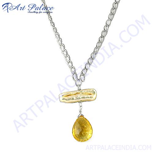 Elegant Fashion Citrine  Pearl Gemstone Silver Necklace