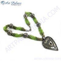 Traditional Peridot Beaded Silver Necklace