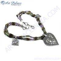 Truly Designer Amethyst  Silver Necklace