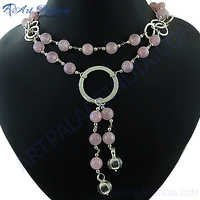 Loving Pink Rose Quartz Silver Necklace