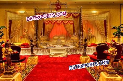 Gujrati Wedding Golden Wooden Mandap