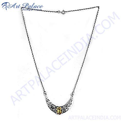 Exclusive Design Citrine Silver Necklace