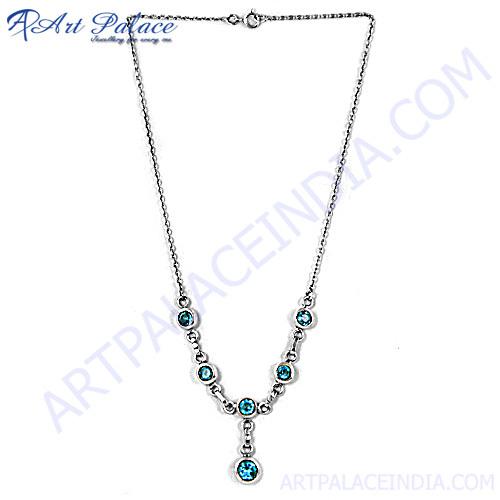 Exclusive Blue Topaz Silver Necklace