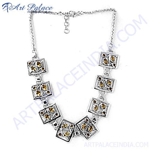 Gracious Fashion Citrine Silver Necklace