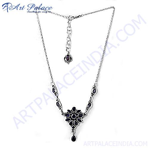Impressive Multi Stone Silver Necklace