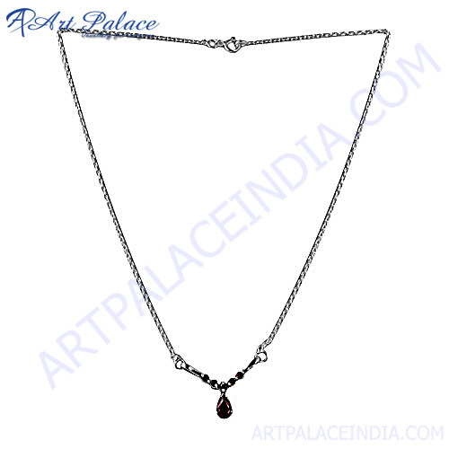 New Natural Garnet Silver Neckalce