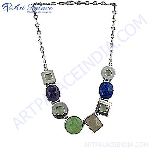 Atteractive Multi Stone Silver Necklace