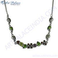 Most fashionable Multi Stone silver Necklace