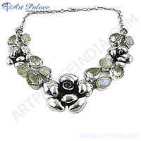 Crystal And Moon Stone Silver Necklace