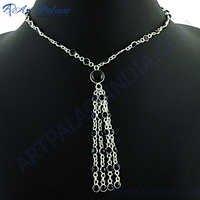 Rocking Style Black Onyx Silver Necklace