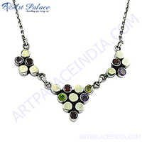 Multi Stone Silver Necklace