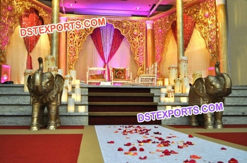 Wedding Golden Carved Fiber Panels with Elephant