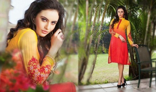 Coral Orange Designer Dress