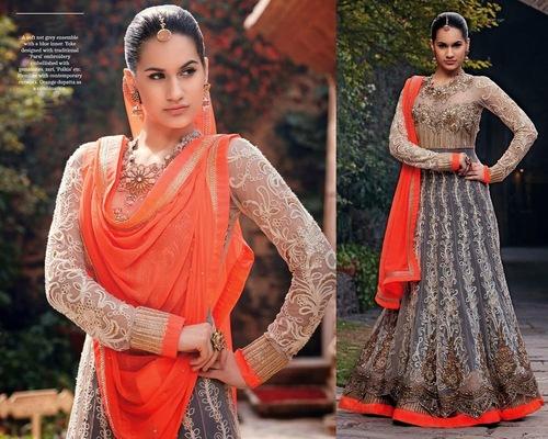 Cream & Gray Designer Outfit Dress