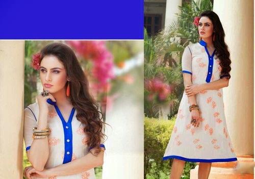 Off White & Blue Designer Dress