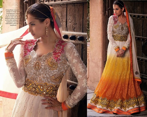 Superb Coral & Yellow Designer Outfit Dress
