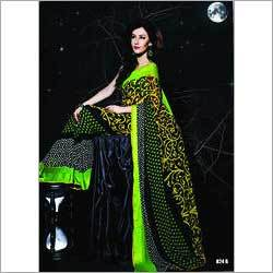Printed Green Black Saree