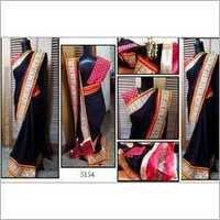 Black desinger party wear saree with havey boder