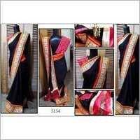 Black desinger party wear saree with havey boder
