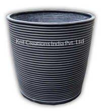 Charcoal Round Rib Fiber Planter