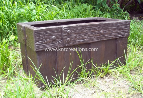 Barrel Wood Rectangular Planter