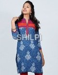 Indigo Blue Printed Cotton Kurti with