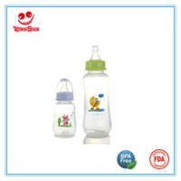 8oz Arc Shape PP Baby Feeding Bottle with Printing