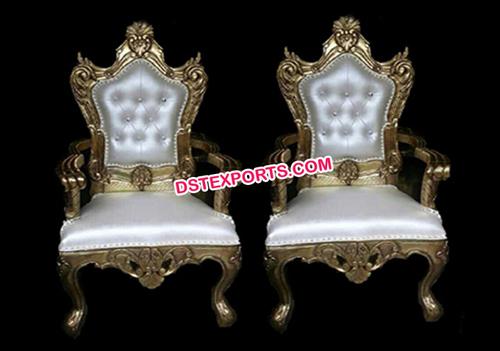 Asian Wedding Gold Metal Designer Chairs Set