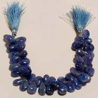 tanzanite plain almond beads