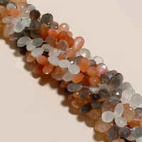 multi moonstone faceted almond beads