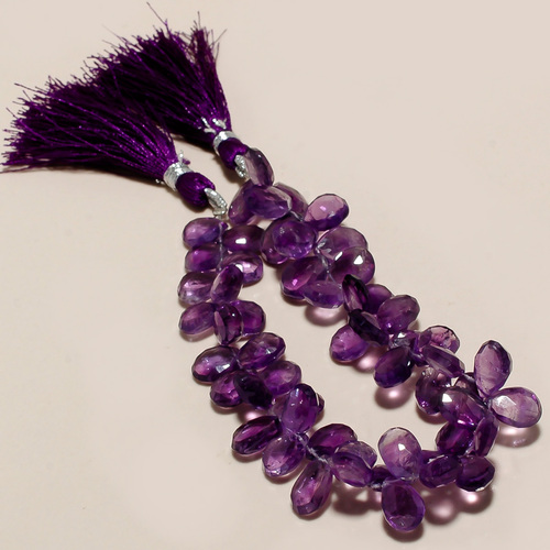Necklaces African Amethyst  Faceted Almond Bead
