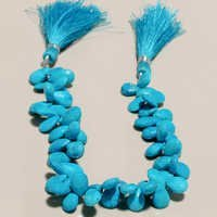 turquoise  faceted almond bead