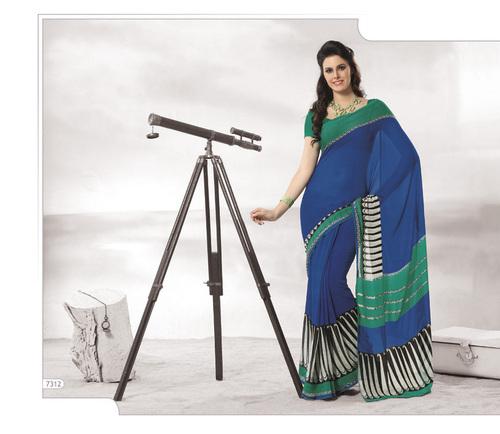 Designer Blue Colour Sarees