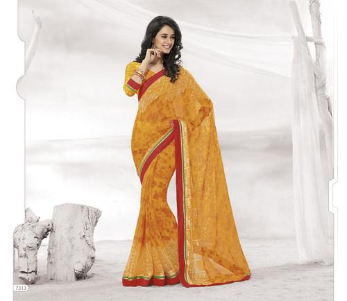 Designer Orange Colour Sarees