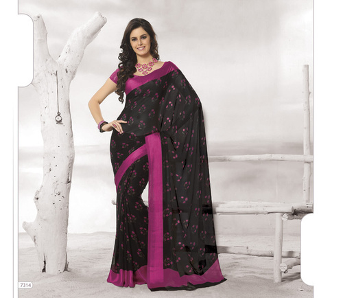 Designer Black Colour Sarees