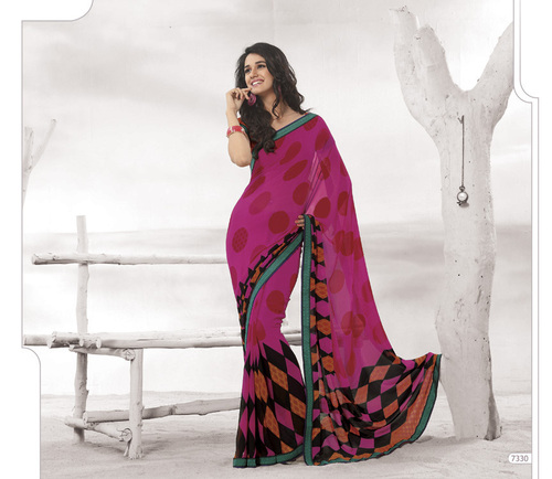 Designer Pink Colour Sarees