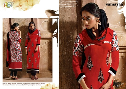 Cotton Embroidered & Printed Suit