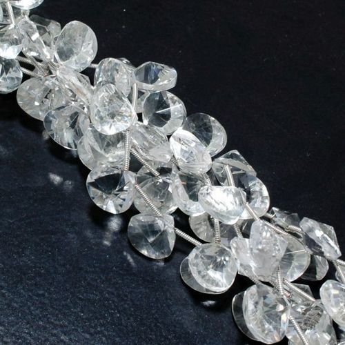 CRYSTAL  BRIOLETTES  12MM-13MM FACETED  14 PCS LOOSE BEADS