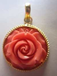 GOLD PLATED PINK STONE FLOWER PANDENT