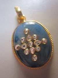 GOLD PLATED AQUA CHALCEDONY STONE WITN MINAKARI PANDENT