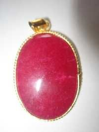 GOLD PLATED RED AVENTURIAN STONE  PANDENT