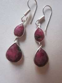 Natural Red Ruby Zosite Steling Silver Plated Ready To Wear Earring