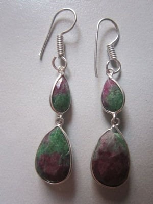 NATURAL BIO RUBY ZOSITE STELING SILVER PLATED READY TO WEAR EARRING