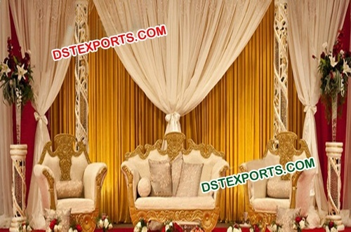 Muslim Wedding Gold Designer Sofa Set