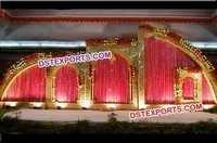 Wedding Stage Golden Fiber Backdrop Decoration Set