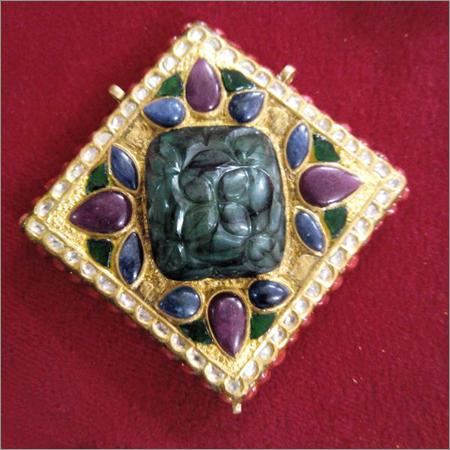 Antique Kundan Meena Pendant Set