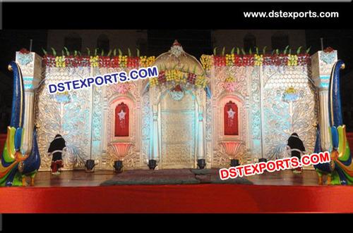 Indian Wedding Carved Stage Backdrop