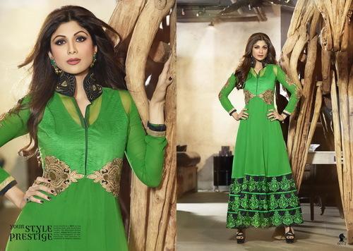 Karma Bollywood Shilpa Shetty Stylish Green and Ge