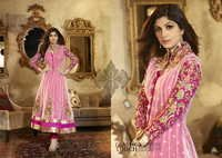 Karma Bollywood Shilpa Shetty Lovely Pink and Georgette Salwar Kameez Dress