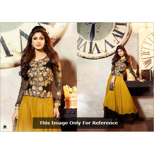 Karma Bollywood Shilpa Shetty Awesome Yellow and Georgette Salwar Kameez Dress